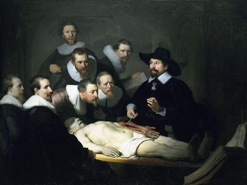 Rembrandt, Lição de Anatomia do Dr. Tulp, 1632. 1,7m x 2,16m. Óleo sobre tela. Mauritshuis.