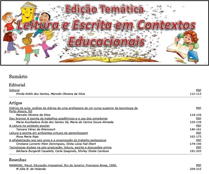 Leitura e Escrita em Contextos Educacionais